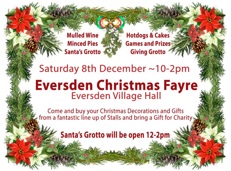 Eversden Christmas Fayre – Sat 8th December 10-2pm