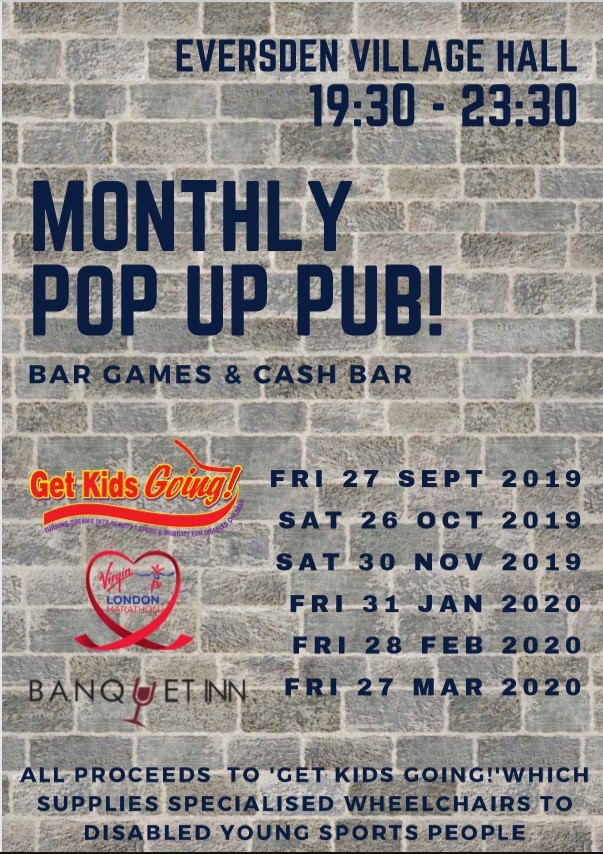 Monthly Pop Up Pub Starts 27 Sep 7:30pm
